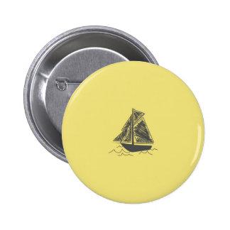 Vintage Retro Sail Boat  Pattern 2 Inch Round Button