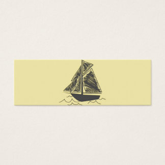 Vintage Retro Sail Boat  Pattern Mini Business Card