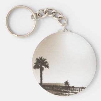 vintage retro san clemente pier california sepia basic round button keychain