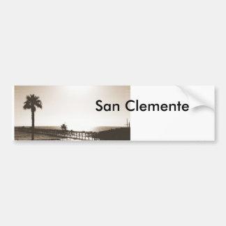 vintage retro san clemente pier california sepia bumper sticker