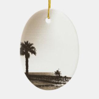 vintage retro san clemente pier california sepia ceramic oval ornament