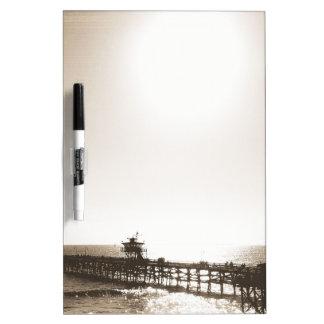 vintage retro san clemente pier california sepia dry erase board