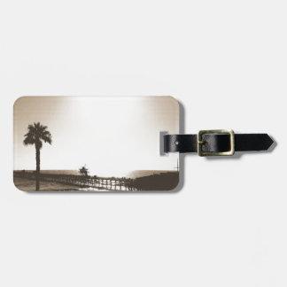 vintage retro san clemente pier california sepia luggage tag