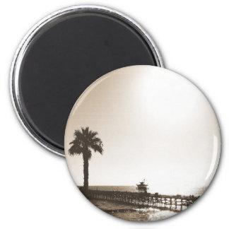 vintage retro san clemente pier california sepia magnet