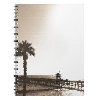 vintage retro san clemente pier california sepia notebooks