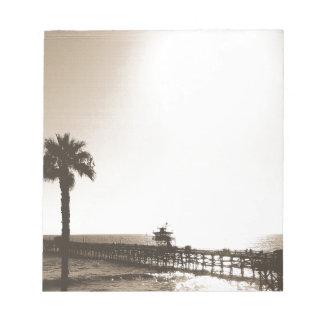 vintage retro san clemente pier california sepia notepad