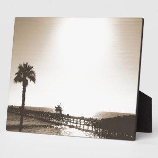vintage retro san clemente pier california sepia plaque