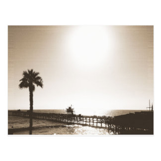 vintage retro san clemente pier california sepia postcard