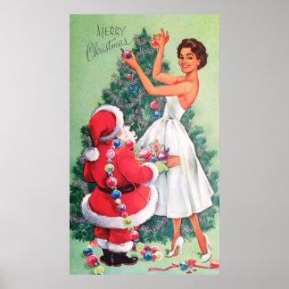 Vintage retro Santa and Lady decor poster