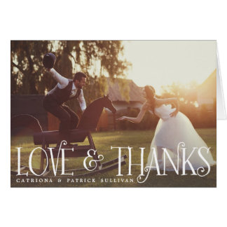 Vintage Retro Script Wedding Photo Thank You Card