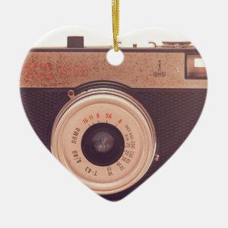 Vintage Retro Sepia Camera Ceramic Heart Ornament
