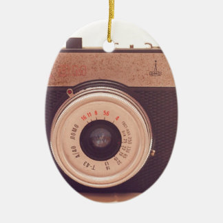Vintage Retro Sepia Camera Ceramic Oval Ornament