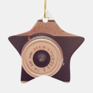 Vintage Retro Sepia Camera Ceramic Star Ornament