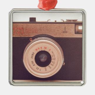 Vintage Retro Sepia Camera Silver-Colored Square Ornament