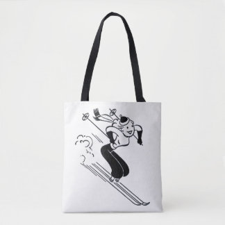 Vintage/Retro Ski Lady Tote Bag
