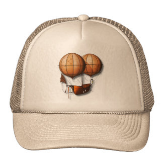 Vintage Retro Steampunk Air Balloon With Ship Trucker Hat
