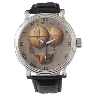 Vintage Retro Steampunk Air Balloon With Ship Watch