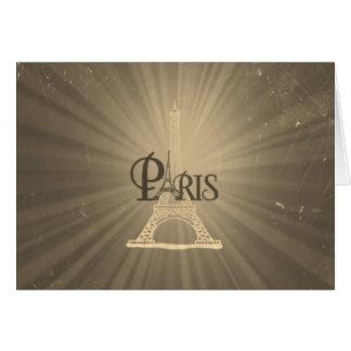 Vintage Retro Style Eiffel Tower Paris Grey Sepia Card