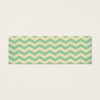 Vintage Retro Style MintGreen Cream Zigzag Chevron Mini Business Card