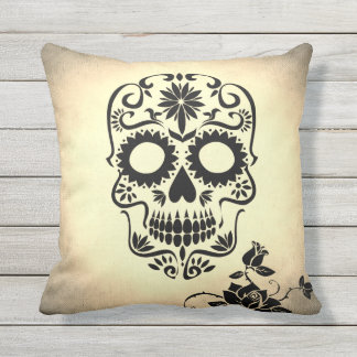 Vintage Retro Style Skull & Crossbones Cobweb Throw Pillow