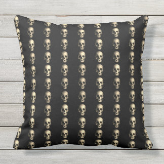 Vintage retro style Skull Happy Halloween Throw Pillow