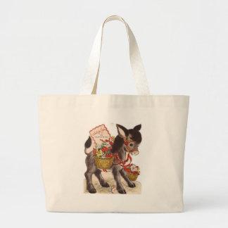 Vintage Retro Sweet Little Donkey Valentine's Day Large Tote Bag