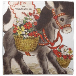 Vintage Retro Sweet Little Donkey Valentine's Day Napkin
