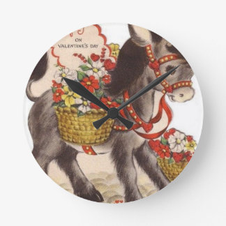 Vintage Retro Sweet Little Donkey Valentine's Day Round Clock