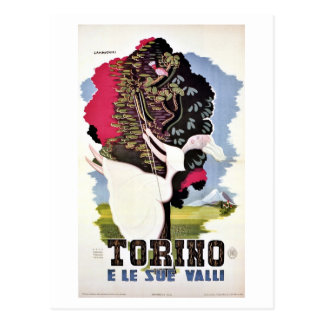Vintage retro Turin valleys Italian travel Postcard
