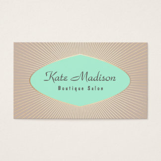 Vintage Retro Turquoise Beauty Salon Business Card