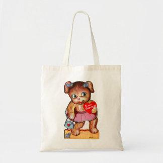 Vintage Retro Valentine Kitsch Bear Cub Budget Tote Bag