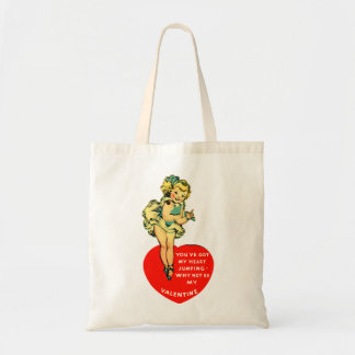 Vintage Retro Valentine You Got My Heart Jumping Budget Tote Bag