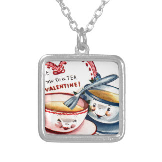 Vintage Retro Valentine's Day Silver Plated Necklace