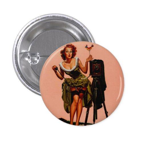 Vintage Retro Vaughan Bass Photographer Pinup Girl Buttons