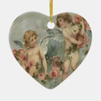 Vintage Retro Victorian Cherubs Valentine Card Ceramic Ornament