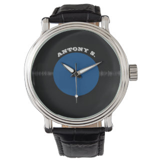 Vintage Retro Vinyl Record (Blue) Personalized Wrist Watch