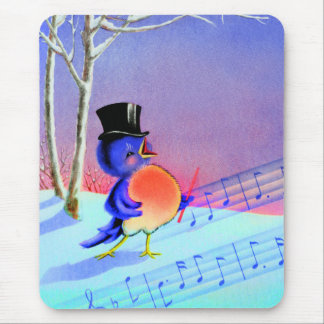 Vintage Retro Winter Singing Blue Bird Mouse Pad