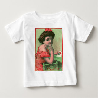 Vintage Retro Woman With Valetine Card Baby T-Shirt