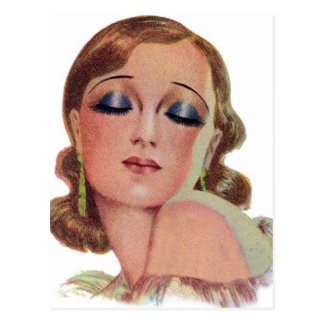 Vintage Retro Women 20s Make Up Eye Shadow Girl Postcard