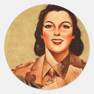 Vintage Retro Women 40s Military Woman WAAC Classic Round Sticker