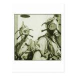 Vintage Retro Women 40s WW2 Military Gas Masks Postcards
