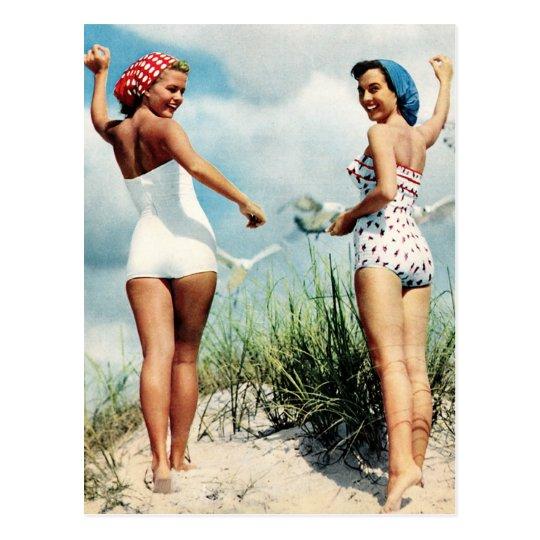 Vintage Retro Women 60s Surfing Beach Girls Postcard