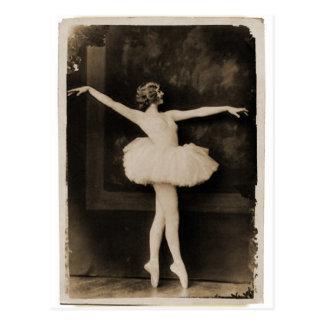 Vintage Retro Women Ballet Dancer Woman Postcard