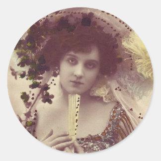 Vintage Retro Women French Victorian Woman Round Sticker
