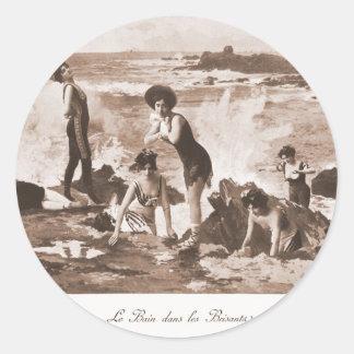 Vintage Retro Women French Victorian Woman Seaside Round Sticker