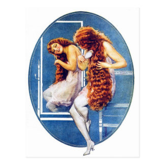 Vintage Retro Women Magazine Illustration Red Hair Postcard