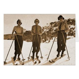 Vintage Retro Women Skiing 'Ski Bums 1942' Card