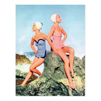 Vintage Retro Women Swimsuits and Swim Caps Too! Postcard