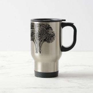 Vintage retro woodcut broccoli mugs