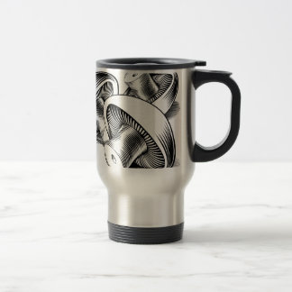 Vintage retro woodcut mushrooms coffee mugs